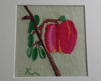 「はじめての実り」 白い花が咲いても 何年も実らなかったけれど 大切に育てていた 姫りんごの木 やっと小さな実がひとつ 嬉しさと可愛らしさと美しさが わたしを包んだ