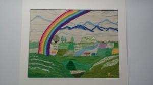 「アルプスに架かる虹」 大好きな安曇野に 車をとばしてやって来た 遠くの雲は流れて 山々に大きな虹が架かる 万物のよろこびが満ちる